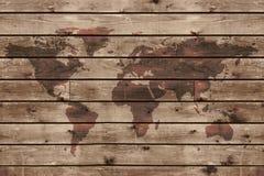 Stara drewniana tekstura z światową mapą Zdjęcia Royalty Free