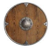 Stara drewniana Vikings osłona odizolowywająca Zdjęcia Stock