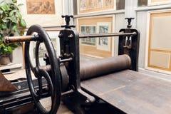 Stara drukowa prasa, dziejowa wystawa Fotografia Stock