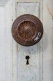 Stara drzwiowa gałeczka i kluczowa dziura Fotografia Stock