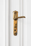 Stara drzwiowa rękojeść na białym drzwi Obrazy Stock