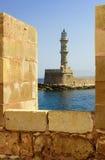 Stara Egipska latarnia morska w Chania Zdjęcie Stock
