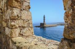 Stara Egipska latarnia morska w Chania Zdjęcia Stock