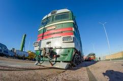 Stara elektryczna, dieslowska lokomotywa czasy USSR, Rosja Petersburg Listopad 02, 2017 Obraz Royalty Free