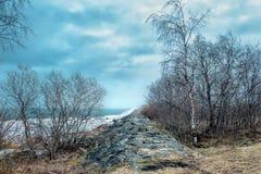 Stara Fińska tama blisko wioski Pyatireche, Leningrad region, Rosja Obraz Royalty Free