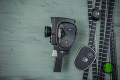 Stara film kamera, film i Zdjęcie Royalty Free
