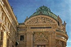 Stara fotografia z architektonicznymi szczegółami opera obywatel de Paryż zdjęcia royalty free