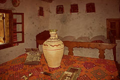 Stara fotografia z Rumuńskim tradycyjnym domowym wnętrzem Fotografia Royalty Free