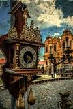 Stara fotografia z starym zegarem Zdjęcia Stock