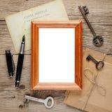 Stara fotografii rama na drewnie Fotografia Stock