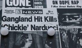 Stara gazeta pokazuje wizerunki i tematy o te Włoskiej Amerykańskiej mafii obrazy royalty free