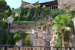 Stara grodzka kamienna ściana w Antalia Zdjęcia Royalty Free