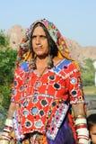 Stara indyjska kobieta na tradycyjnej sukni Zdjęcia Royalty Free