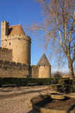 Stara izolująca cytadela Narbonne brama Carcassonne Francja Obraz Stock