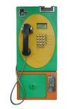 Stara jawnego telefonu wszywki moneta i karta Fotografia Royalty Free