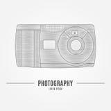 Stara kamera - oznakować tożsamość element, odizolowywającego na białym backgr Zdjęcia Royalty Free
