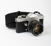 Stara kamera przy kątem z patką fotografia stock
