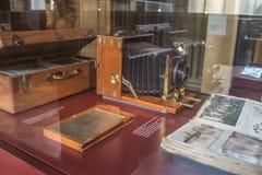 Stara kamera w Zeiss muzeum w Drezdeńskim, Niemcy fotografia stock