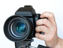 Stara kamera z obiektywem na tripod Zdjęcia Royalty Free