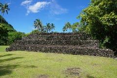 Stara kamienna struktura Tahiti Marae Francuski Polynesia Obrazy Royalty Free