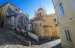 Stara katedra Velha lub Se Coimbra, Portugalia Zdjęcie Royalty Free