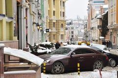 Stara Kijowska ulica, śnieg obraz royalty free