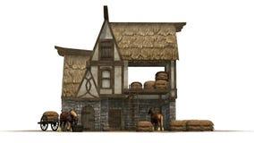 Stara końska stajnia i konie odizolowywający na białym tle - ilustracji