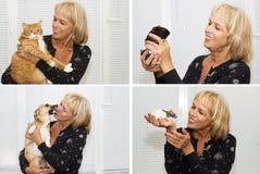 Stara kobieta i zwierzęta domowe Obrazy Royalty Free