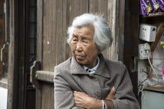 Stara kobieta kontempluje past Obraz Stock