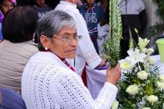 Stara kobieta trzyma niektóre palmy Zdjęcia Royalty Free