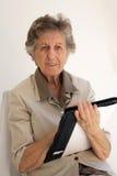 Stara kobieta ubierał w klasycznym kostiumu z agendą w jej Han Fotografia Stock