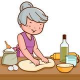 Stara kobieta ugniata ciasto i robi chlebowi w kuchni ilustracja wektor
