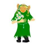 Stara kobieta z kwiat kreskówką Fotografia Royalty Free