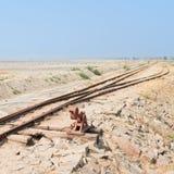 Stara kolej na Sambhar Salt Lake, India Obrazy Stock