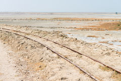 Stara kolej na Sambhar Salt Lake, India Zdjęcie Stock