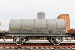 Stara kolejowego samochodu spłuczka er parowe lokomotywy Zdjęcia Stock