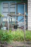 Stara kosa, manuału narzędzie dla ciąć trawy, Ukraina Obrazy Royalty Free