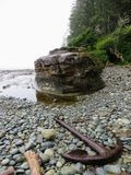Stara kotwica mył wzdłuż linii brzegowej zachodnie wybrzeże Trai fotografia royalty free