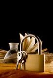 Stara książka i keylock Zdjęcia Stock