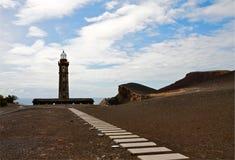 Stara latarnia morska Capelinhos na wyspie Faial, Azores Obrazy Royalty Free