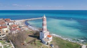 Stara latarnia morska na balkan peninsular, Shabla, Bu?garia obrazy stock