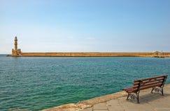 Stara latarnia morska w porcie Chania na Crete wyspie Grecja Obrazy Stock