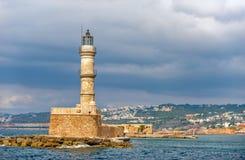 Stara latarnia morska w porcie Chania na Crete wyspie Grecja Fotografia Stock