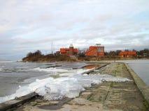 Stara latarnia morska w Ventes Ragas blisko Curonian mierzei, Lithuania Obraz Stock