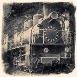 Stara lokomotywa w retro czarny i biały projekcie Zdjęcie Royalty Free