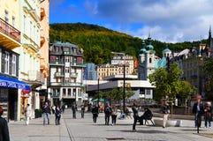 Stara Louka gata av Karlsbad (Karlovy varierar), Arkivbild