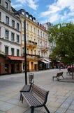 Stara Louka gata av Karlsbad (Karlovy varierar), arkivbilder