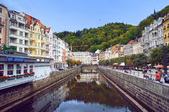 Stara Louka street of Karlsbad (Karlovy Vary) Stock Images