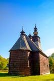 老传统斯洛伐克木教会在Stara Lubovna,斯洛伐克 免版税图库摄影