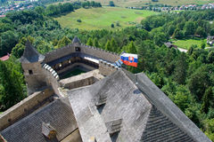 Stara Lubovna castle_flag Stock Photography